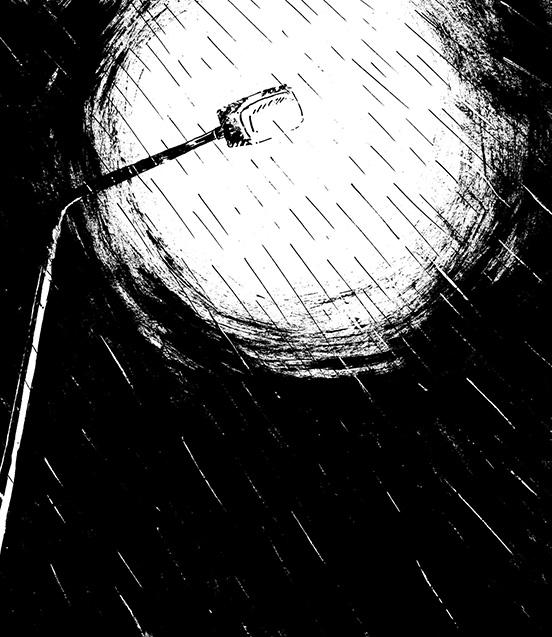 dessin encre et gouache la pluie Rem