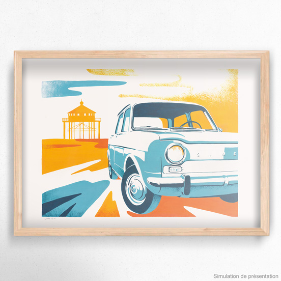 simca 1000 illustration gouache