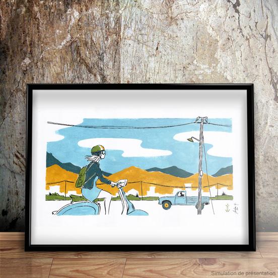 scooter_crete_illustration_encre_gouache_jordan_gentes