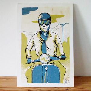 scooteriste-illustration-gouache-encre-jordan-gentes
